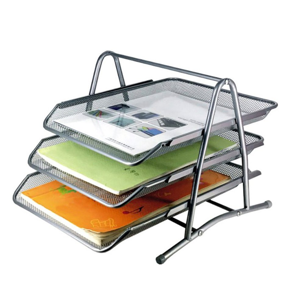 3-ярусный металлический сетчатый органайзер для документов, настольная подставка для магазинов для дома и офиса