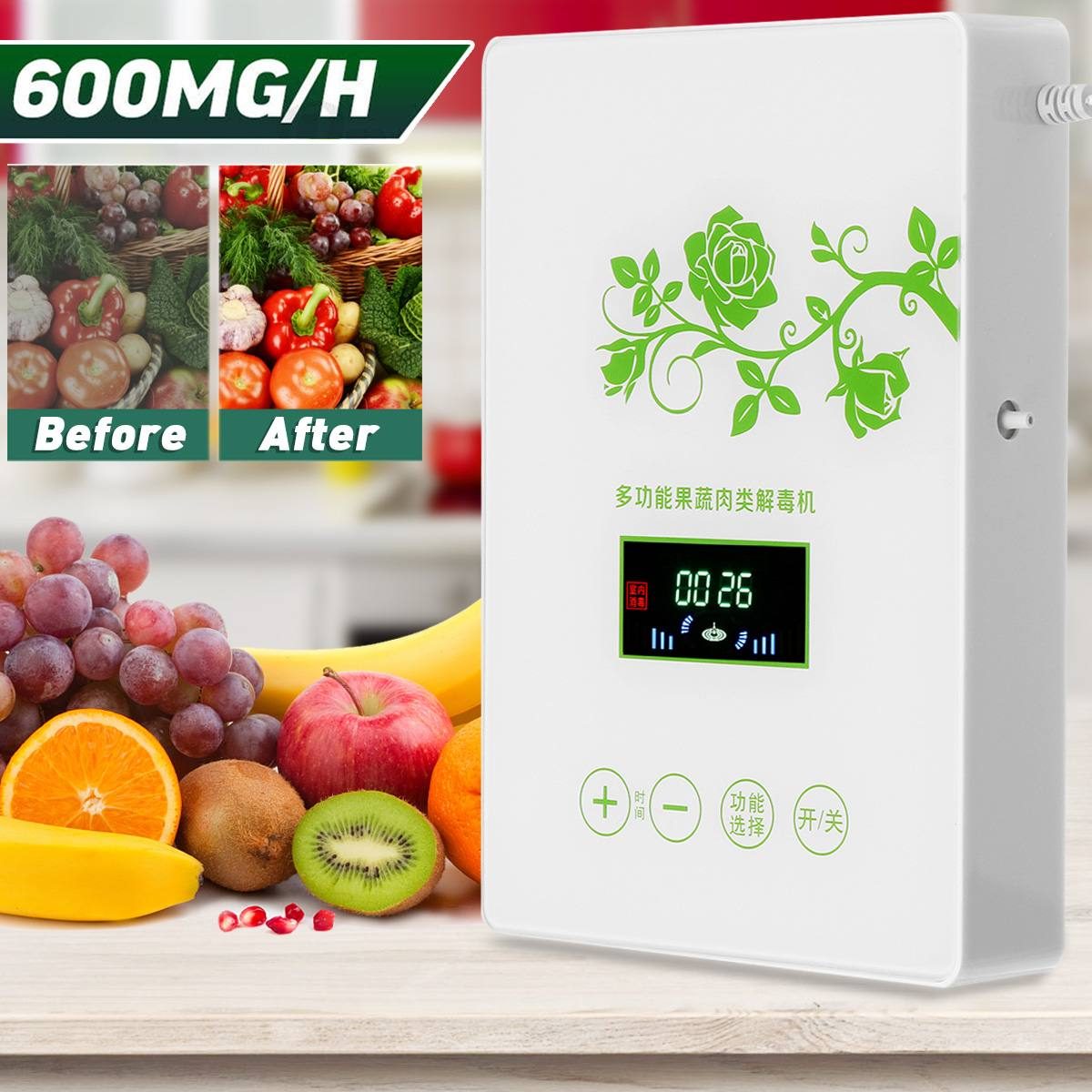 600mg/h Ozone Generator Home Air Purifier Active Oxygen Meat Fruits Vegetables Purification Kitchen