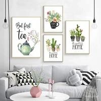 Affiches et imprimes botaniques Cactus plante verte  peinture sur toile  citation de maison douce  image dart  cadeau de pendaison de cremaillere  decoration de maison