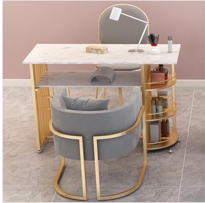 طاولة مانيكير مع كرسي من الرخام الأحمر ، مجموعة مانيكير ، طاولة مكياج على الطراز الأوروبي ، نمط جديد