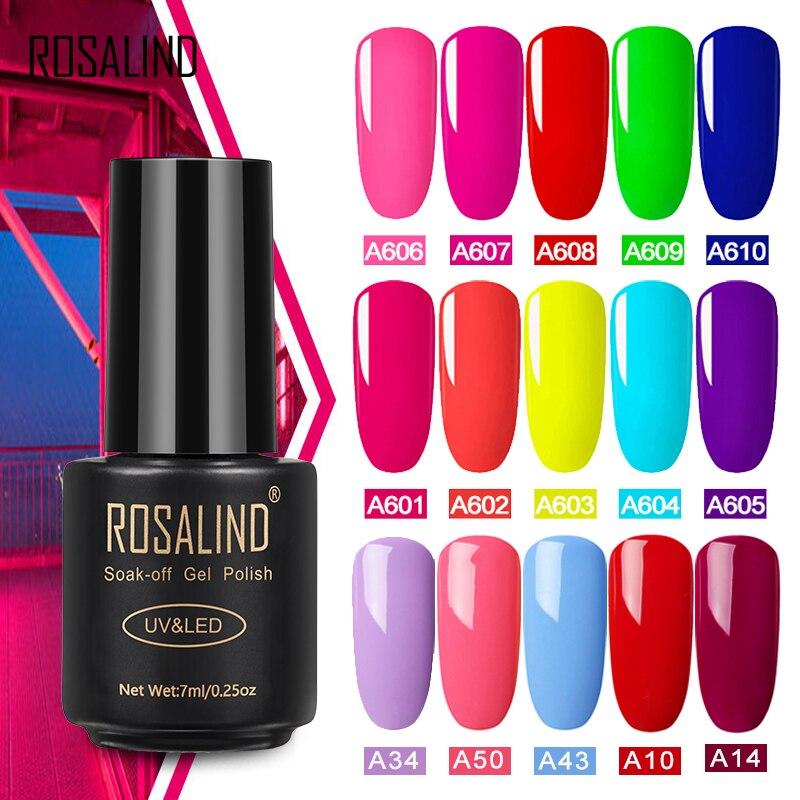 ROSALIND Gel barniz híbrido Neon set de geles para pulido de uñas para manicura led uv semipermanente capa superior esmalte de uñas en gel artístico