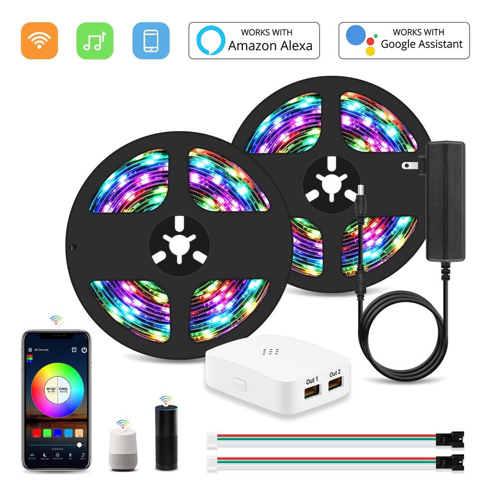RGB IC Led Tape DC 12V Wifi Addressable WS2811 Smart Pixel Led Strip Light Kit Magic 5M 10M 15M 20M