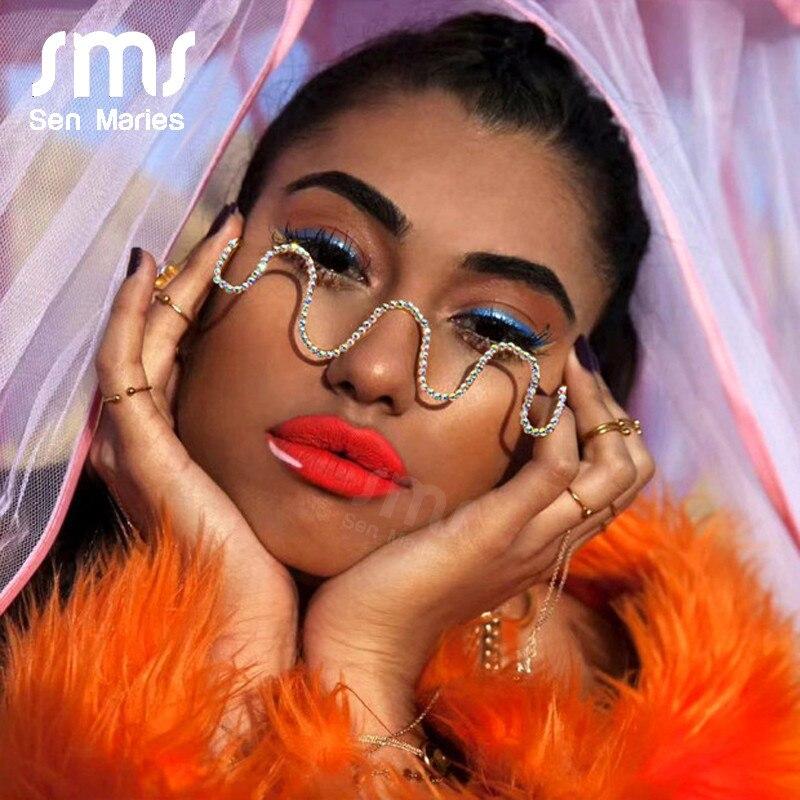 Lunettes à demi-montures et strass pour femmes   Lunettes de soleil à la mode, montures de luxe, lunettes à monture ondulée, décoration de lunettes
