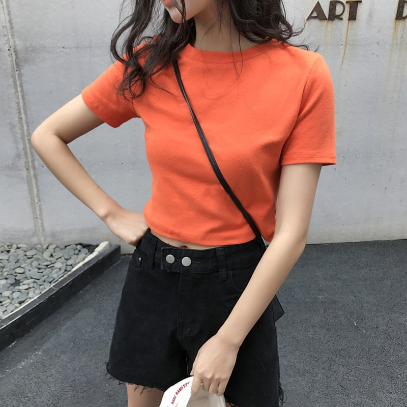 Small 150cm Fitted Short T-shirt Female Online Influencer Ins Super Popular Summer Clothes 2021 New