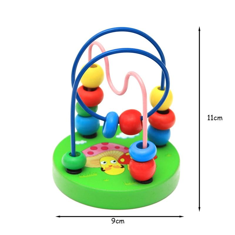 Juguetes Educativos para bebés y bebés con cuentas redondas para niños y recién nacidos, carrito de bebé Montessori de 9x11cm