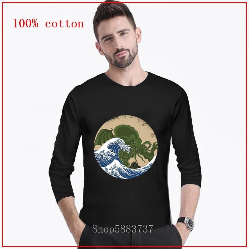 Tyburn hokusai cthulhu long t camisas topos t camisa manga personalizado tshirt great wave 100% algodão tecido roupas do vintage