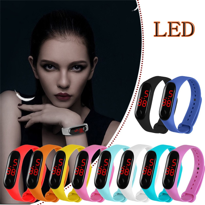 Fashion Student Lover Sport Gift Digital Wrist Watches LED Electronic Watches with TPU Strap Outdoor