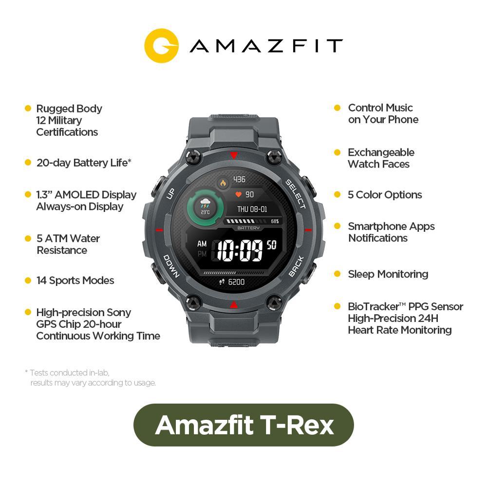 في المخزون 2020 CES Amazfit T-ريكس T ريكس Smartwatch 5ATM 14 الرياضية وسائط الذكية ووتش GPS/GLONASS MIL-STD ل iOS الروبوت الهاتف