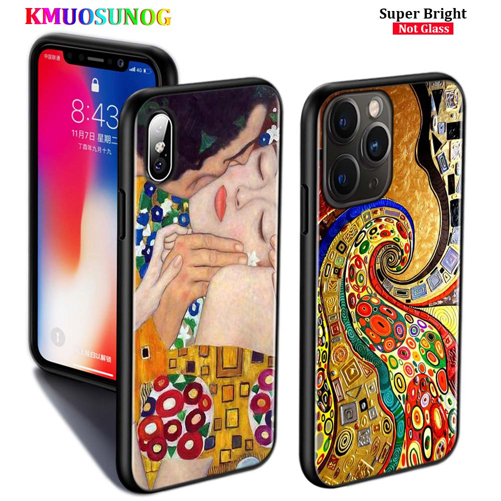 Schwarz Silikon Fall Kuss von Gustav Klimt für iPhone 11 11Pro XS MAX XR X 8 7 6S 6 plus 5S Gloss Telefon Fall Abdeckung