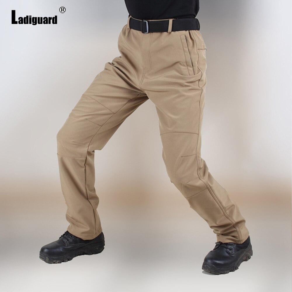 Ladiguard Plus Size Men Cargo Pants 2021 Autumn Fashion Zipper Pockets Trouser Solid Outdoor Casual Skinny Pants Male Streetwear zipper fly pockets embellished plus size cargo pants