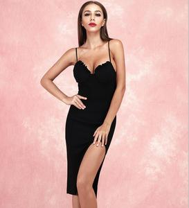 Solid Nude Sexy Sleeveless Backless V Neck Split Black Bandage Dress 2020 Designer Fashion Evening Party Dress Vestido