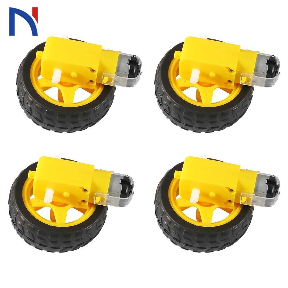 4 piezas/2 piezas Motor eléctrico de CC con rueda de neumático de coche de juguete de plástico 3-6V eje Dual engranaje de motor magnético TT