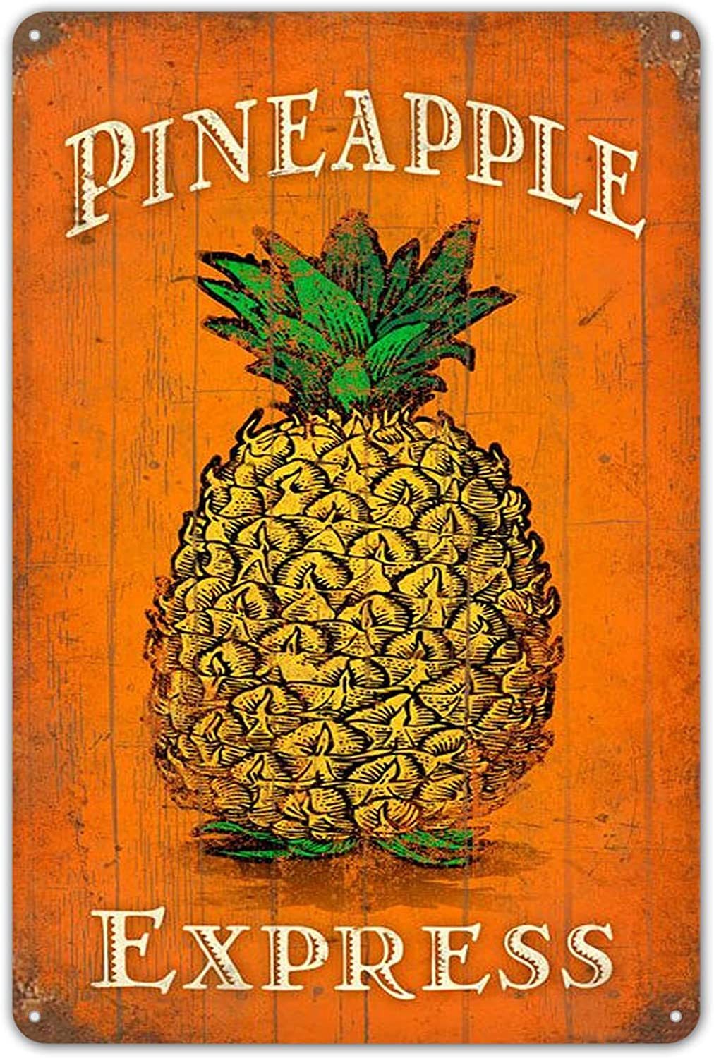 Sarcarse Tin Signs Vintage Pineapple Express Metal Sign Poster Plate for Cafe Room Pub Restaurants Home Shop Wall Decor
