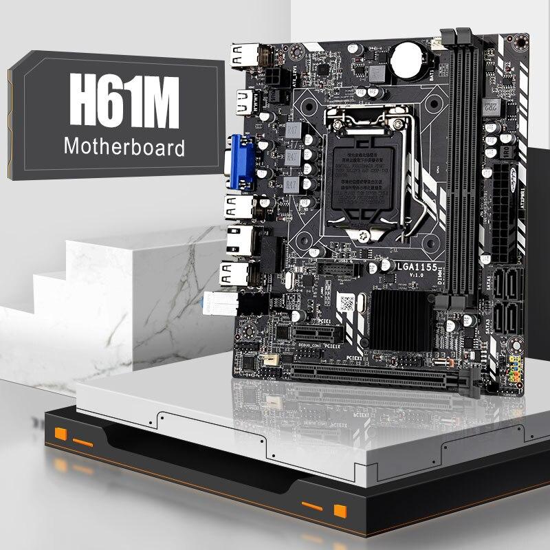 H61 اللوحة LGA 1155 DDR3 الذاكرة 16 جيجابايت M-ATX سطح المكتب اللوحة الرئيسية ل LGA1155 المقبس إنتل كور i3 i5 i7 CPU HDMI VGA اللوحة الرئيسية