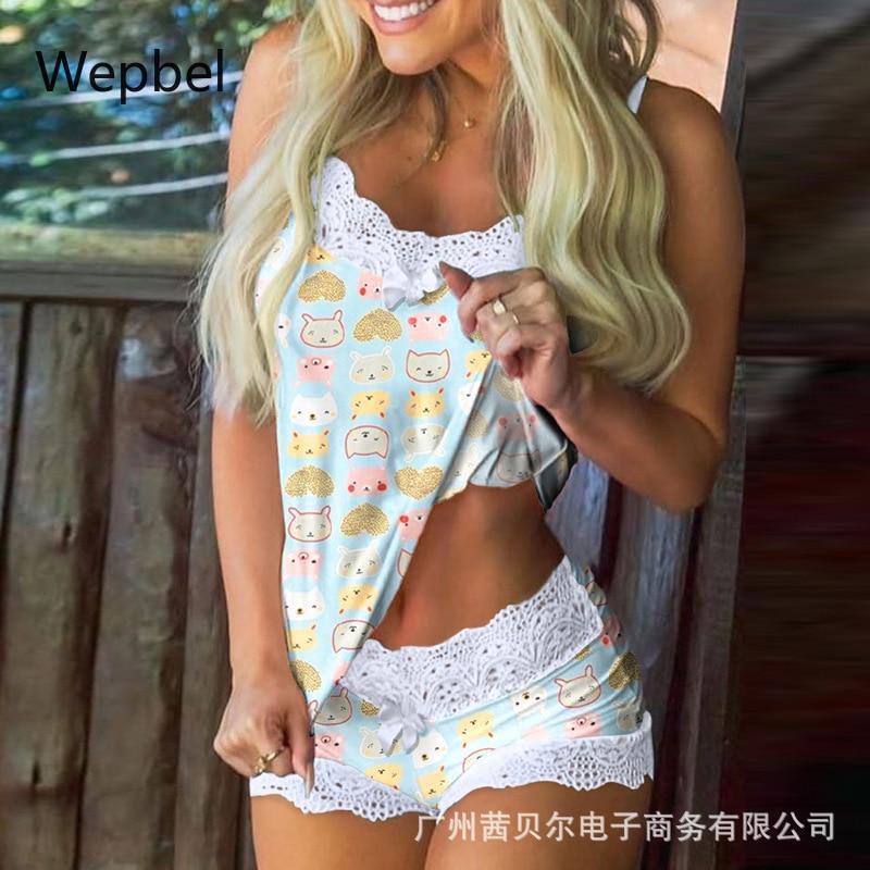 WEPBEL Lace Sleevelss Vest Tops Mini Shorts Sets Women Pajamas Set Pink Home Leisure Female Shorts Suits  Sleepwear