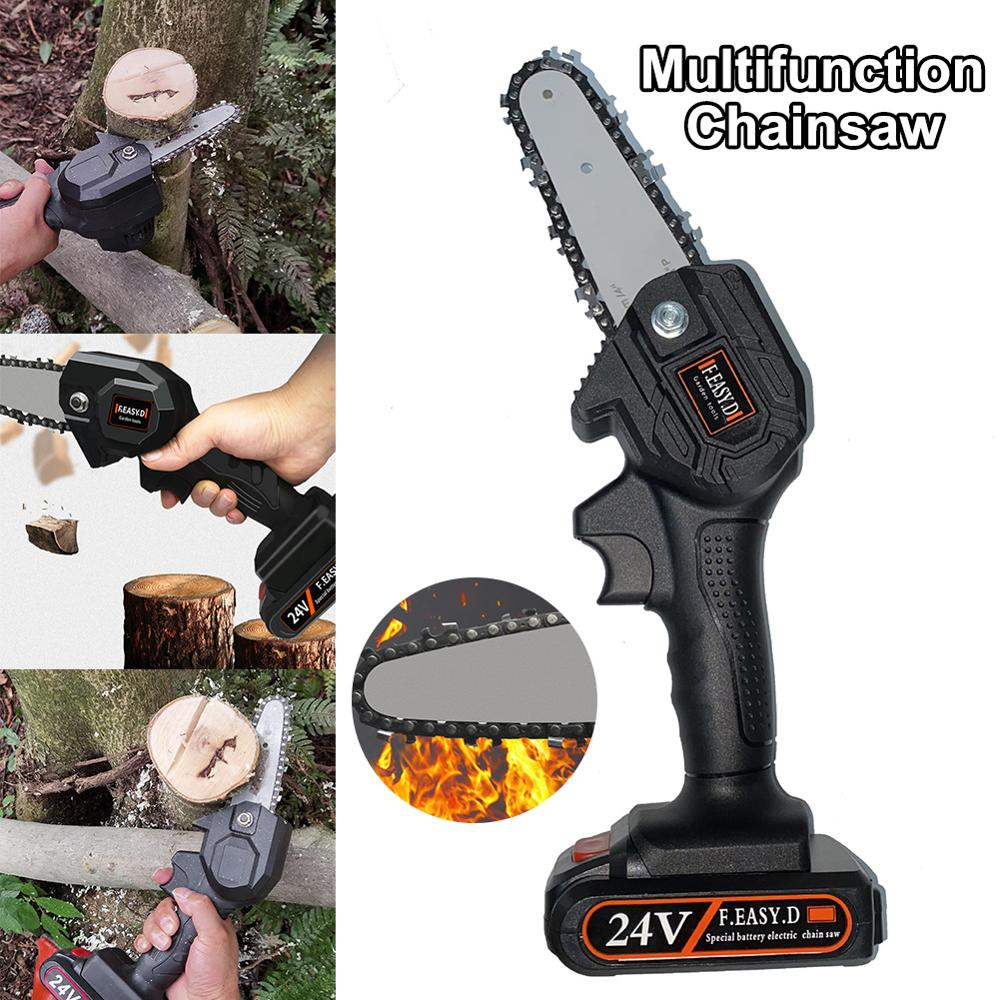 24V Portable Electric Pruning Saw Electric Saws Woodworking Electric Saw Garden Logging Mini Electric Chain Saw Wood Cutting