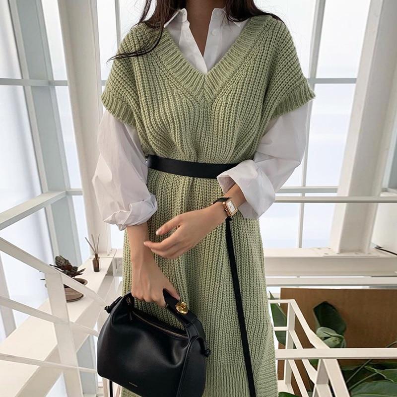 Solid Color Women Dress Korean Chic Versatile Lapel Loose Long Sleeve Shirt + Over Knee Split Knit Vest Dress With Girdle