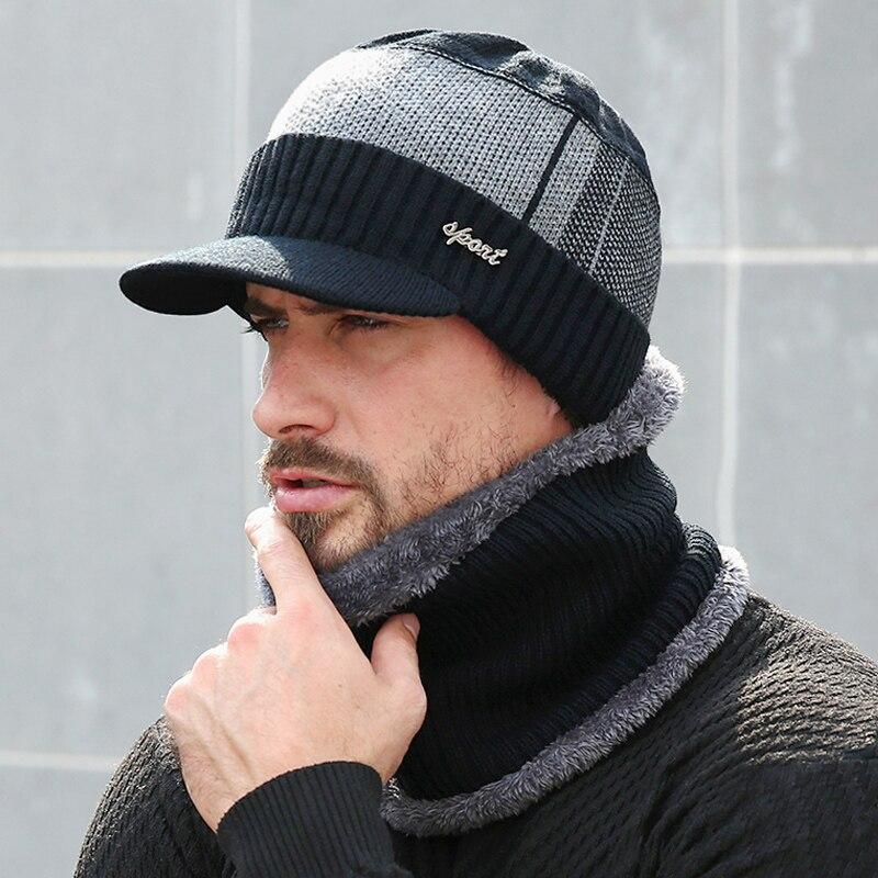 Зимние шапки для мужчин, шапки, облегающая шапка, зимняя шапка для мужчин и женщин, шерстяной шарф, шапка s, комплект, Балаклава, маска, шапка, ...