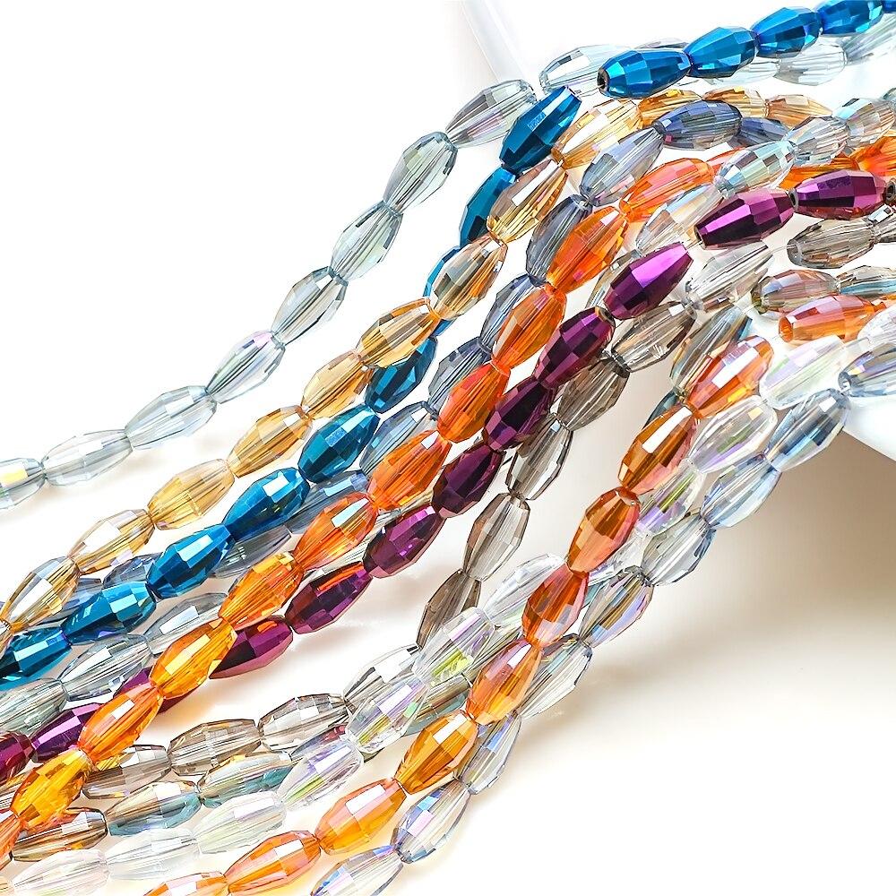 55 Uds., accesorios para hacer joyas, cuentas de arroz de cristal checo de 6x10mm hechas a mano, colgante ovalado de cristal DIY para mujer