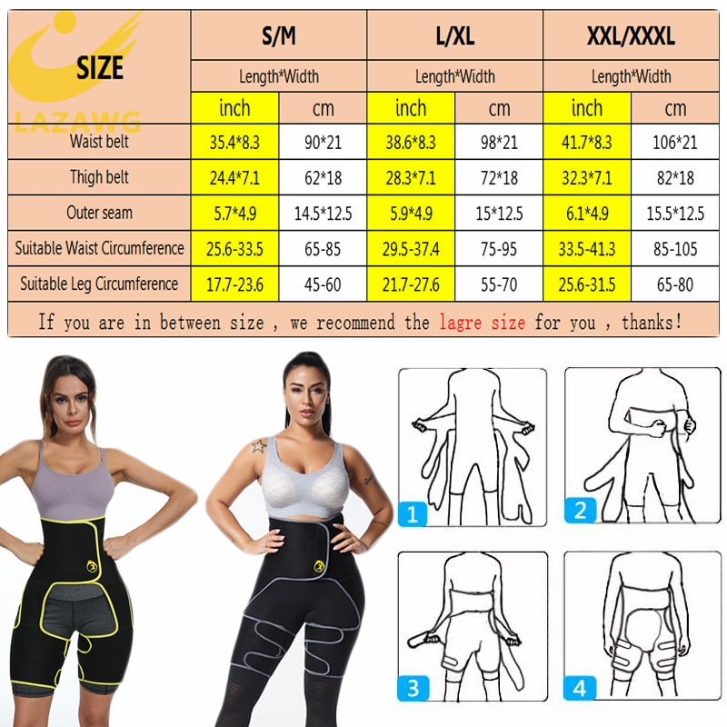 LAZAWG Waist Trainer Legging Shapers Bet Women 3 In 1 Slimming Thigh Trimmer Strap Neoprene Body Shaper Weight Loss Muscles Band