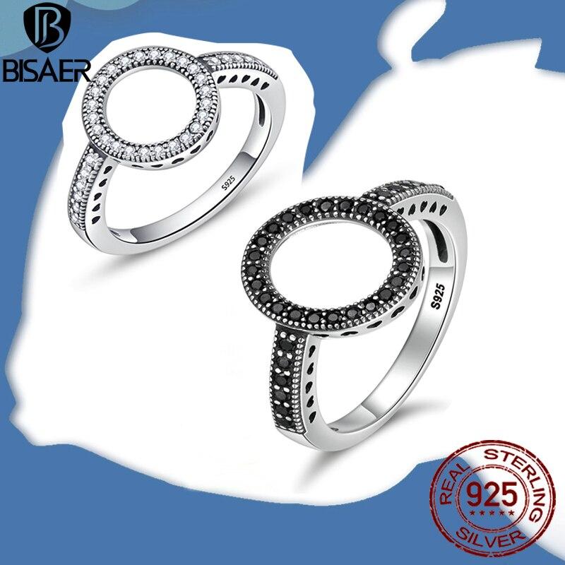100% de Plata de Ley 925 auténtica, circulo CZ transparente para siempre, anillo cuadrado redondo de bandas de boda para mujeres, joyería de compromiso HSR041