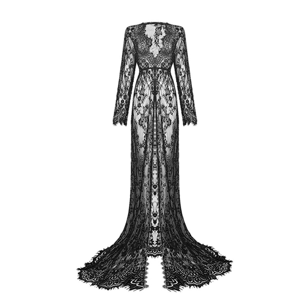 Mulheres sexy vestido de renda vestido de verão rendas manga longa mini vestidos femininos rendas praia vestido gótico
