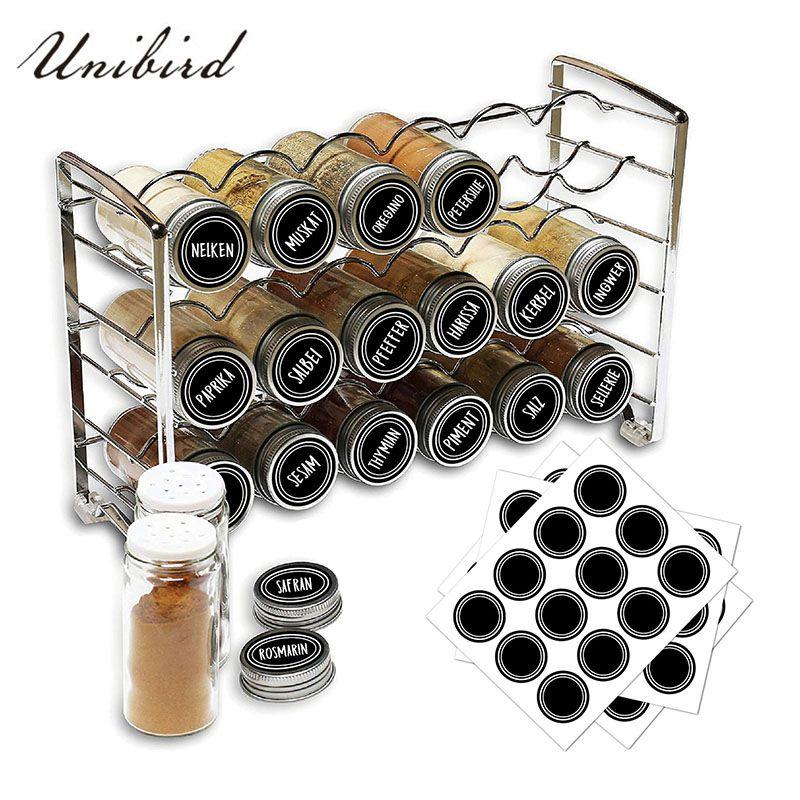 Unibird 4 unids/set cocina especias etiquetas para tarros con 1Pc blanco marcador de tiza de la pluma a prueba de agua Stickes para botella de sal de pimienta puede