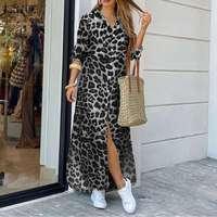 Платье ZANZEA женское праздничное с леопардовым принтом, модное винтажное длинное платье-рубашка с отложным воротником, на осень