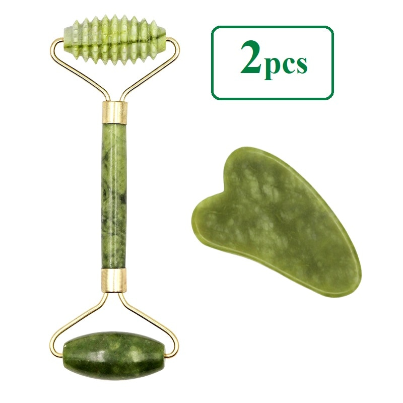 2pcs Facial Massager Roller Natural Jade Stone Guasha Board Scraper Set Face Lift Skin Relaxation Slimming Beauty Neck Thin Lift