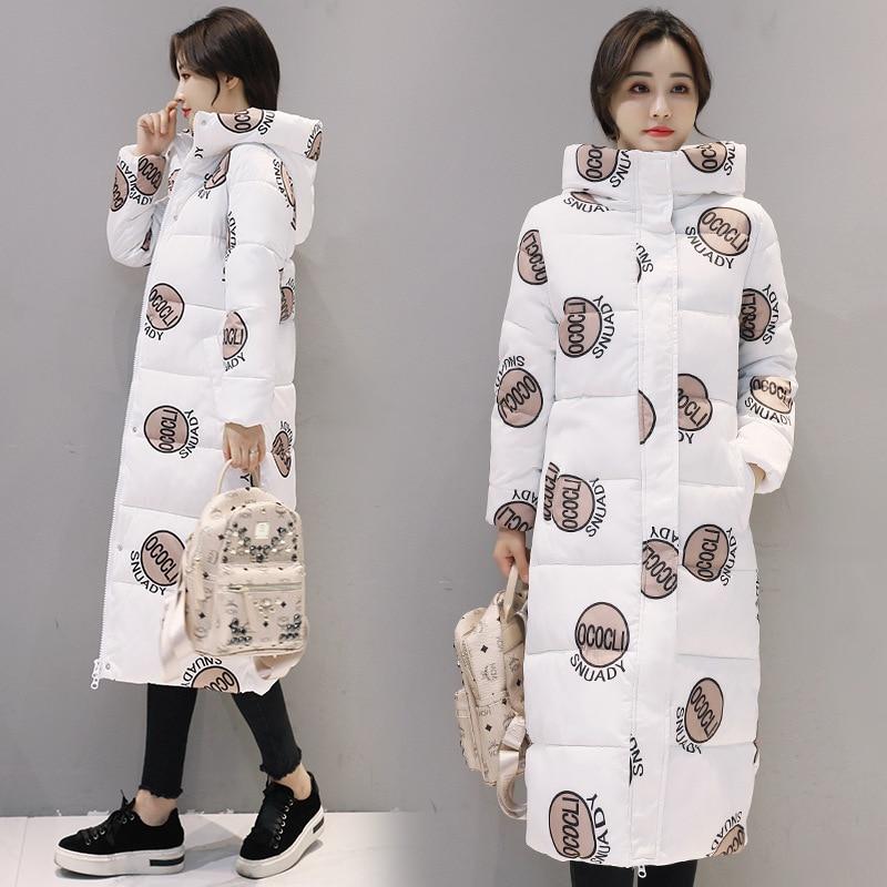 Зимняя Новая женская модная большая стеганая куртка, длинная непромокаемая куртка выше колена, модная теплая парка с капюшоном и принтом