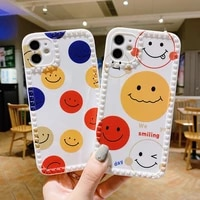 smiley face phone case for iphone 12 11 pro xs max 12mini xr x 8 7 6s plus photo frame colorful soft silicone funny cover