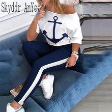 2 pièces ensemble survêtement femmes bateau ancre imprimer deux pièces ensemble pantalons et haut Femme vêtements taille élastique pantalons longs ensemble vêtements de salon