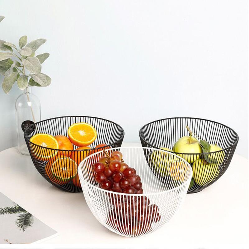Cesta para vegetales frutas bandeja de drenaje cesta ahuecada de hierro tazón de caramelo almacenamiento para organizador de alimentos creativa cocina decoración del hogar