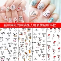 2pcs abstract lady face nail decals sliders paper nail art decorations gel polish sticker manicure foils designer supplies tool