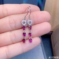 kjjeaxcmy fine jewelry 925 sterling silver inlaid natural gemstone garnet female earrings eardrop beautiful support test