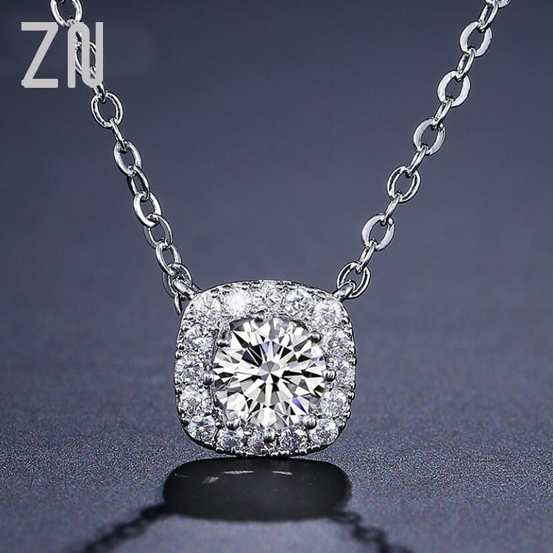 ZN Fashion Shiny AAA+ Crystal Zircon Square Pendant Necklaces Charm O-Shape Chain Women Gift Female Top Quality Trendy Jewelry