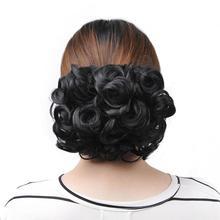 Chignon court bouclé élastique de Delice Womne   Grand Chignon de coiffure résistant à la chaleur, Extension avec deux peignes en plastique