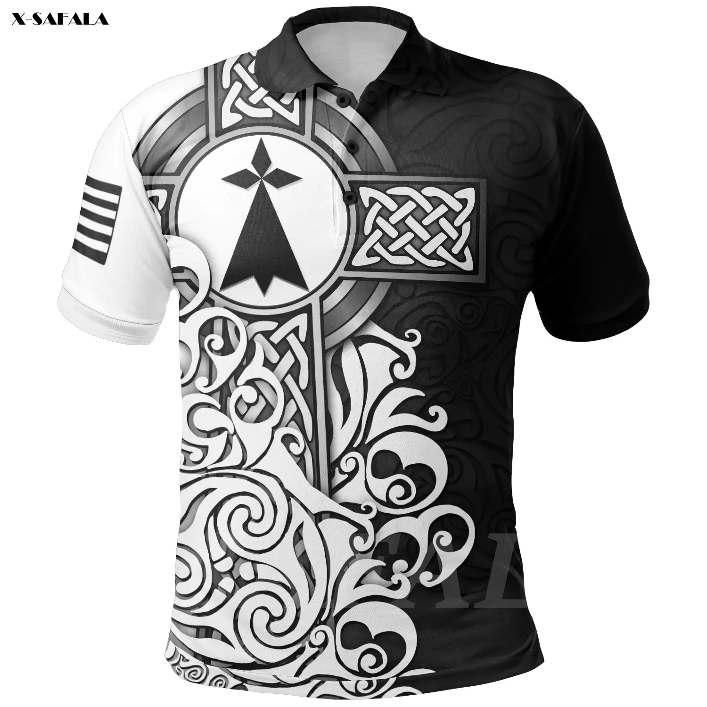 BRITTANY BRITTANY ELTIC CROSS Flag 3D Printed Polo Shirt Men Women Unisex Thin Collar Short Sleeve Street Wear Casual Tee