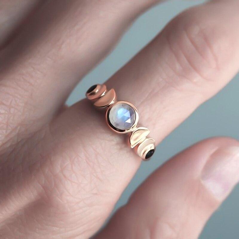 Anillo de moda de fase lunar, anillo de ciclo de Luna para mujer, anillo de cristal de piedra lunar de imitación, regalo de joyería Retro