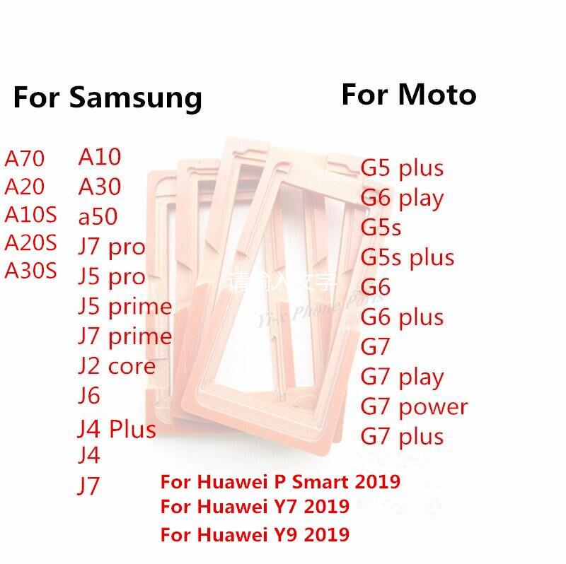 30 pçs suporte do molde de tela colagem molde para samsung a10 a30 a50 j6 j4 plus j2 j5 j7 pro prime moto g5 g5s g6 g7 jogar mais potência