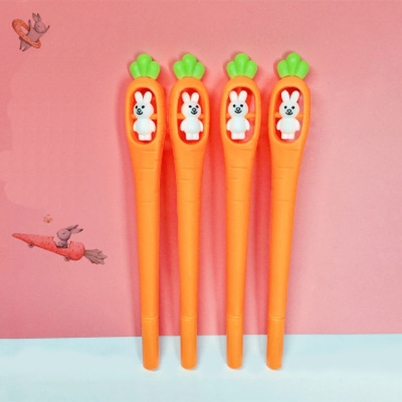 cute cat rabbit gel pens set kawaii stationery gel ink pens for kids gifts writing pen stationery caneta escolar school supplies 1pcs Rabbit Rotating Carrot Gel Pen 0.5mm Cute Pens Novelty Kawaii Gel Pen Student Stationery Writing Pens School Supplies