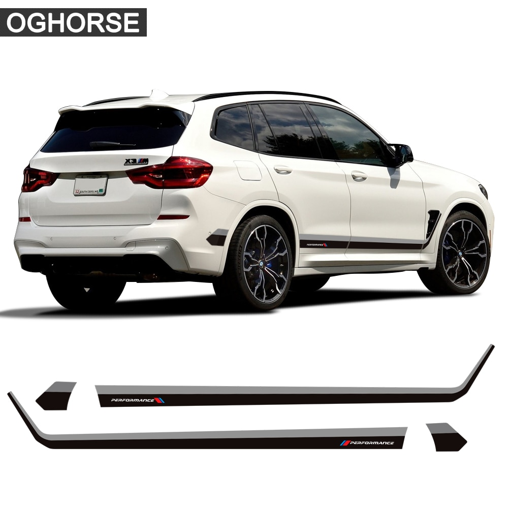 2 Pcs Car Door Side Stripes Skirt Sticker M Performance Body Decal For BMW X3 M G01 F25 Accessories Car Styling etie car styling sports mind produced by m performance power sticker