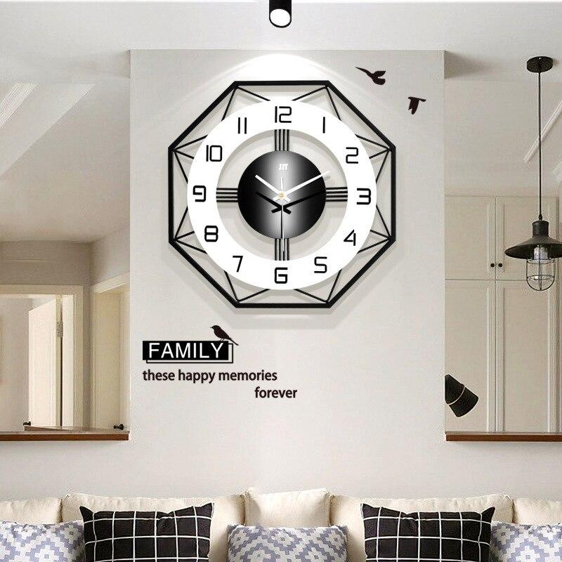 Reloj de pared de diseño geométrico creativo Simple de moda de estilo nórdico Reloj de pared de cuarzo silencioso doméstico alimentado por batería