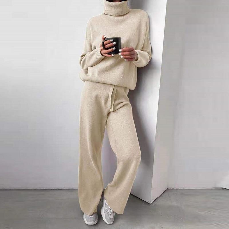 الدافئة الحياكة المرأة هوديي البلوز قطعتين مجموعة 2021 الخريف السراويل أعلى 2 قطعة ملابس الإناث الصلبة بدلات رياضية عادية بلوزات