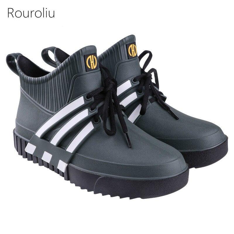 Rouroliu nuevos hombres de moda encaje hasta Botas de lluvia Anti-slip hombre impermeable zapatos de agua zapatos de calzado para jardín