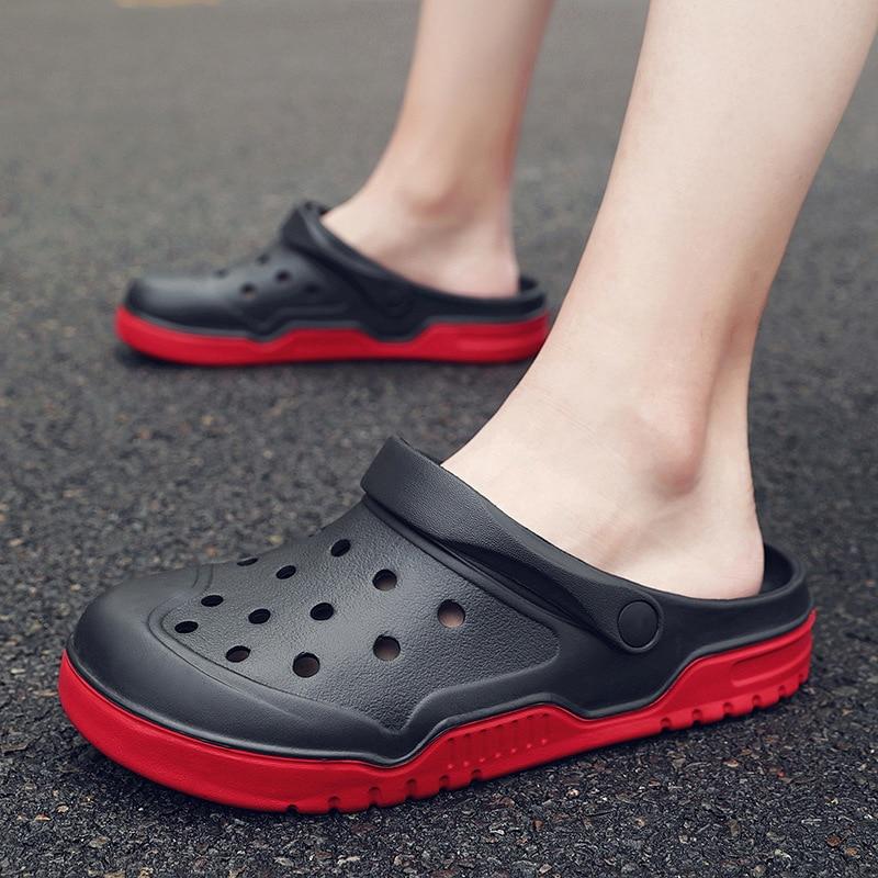 Confortable jardin hommes sandales plage antidérapant trou mocassins pantoufles hommes grande taille 36-51 caoutchouc sabots glisser chaussures Zuecos Hombre