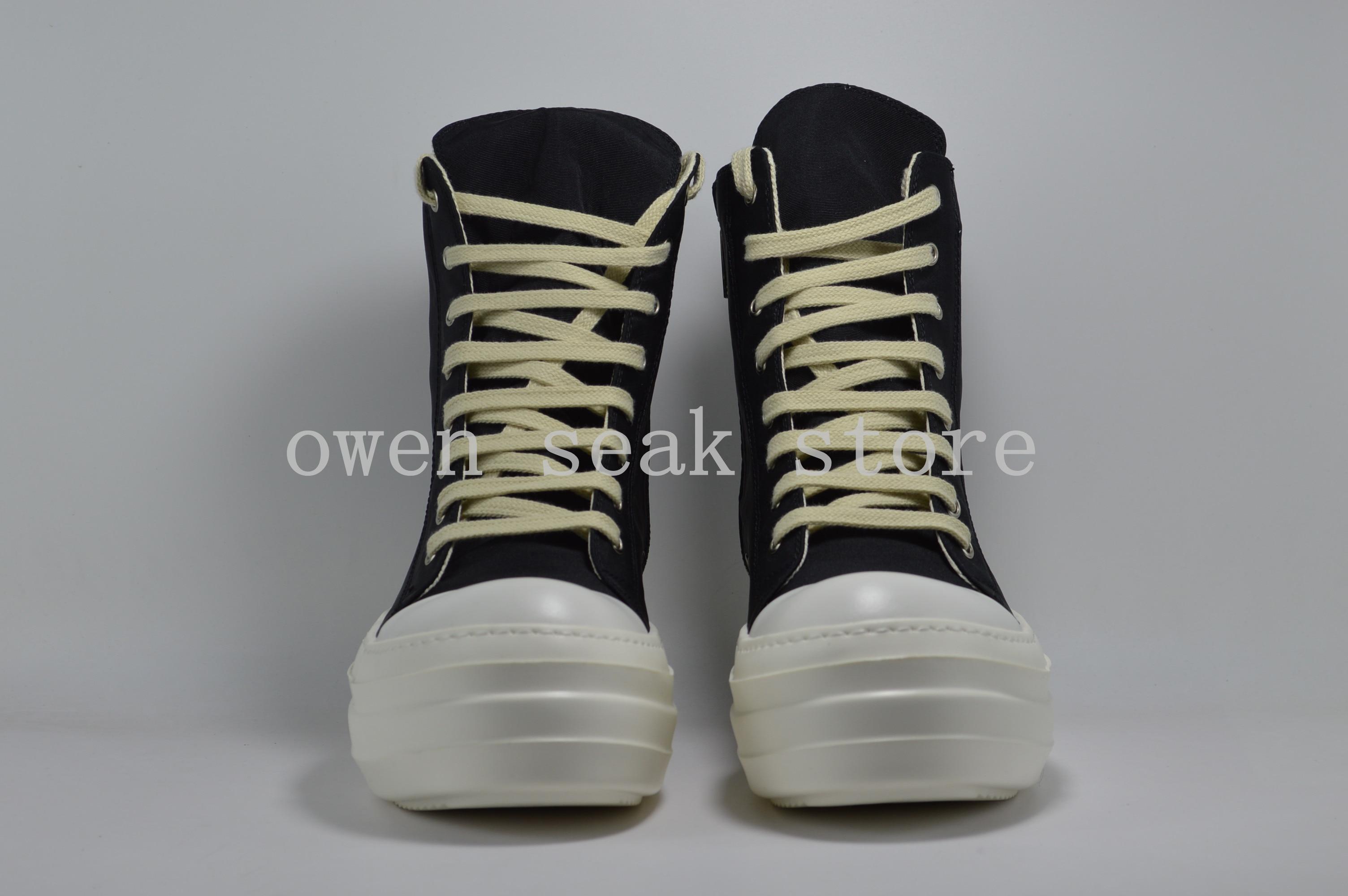 Owen Seak Hommes Toile Chaussures Plate-Forme De Luxe Bottes À Lacets Baskets Décontracté Femmes Hauteur Augmentant Zip Haut de gamme BALLERINES Noir Chaussures