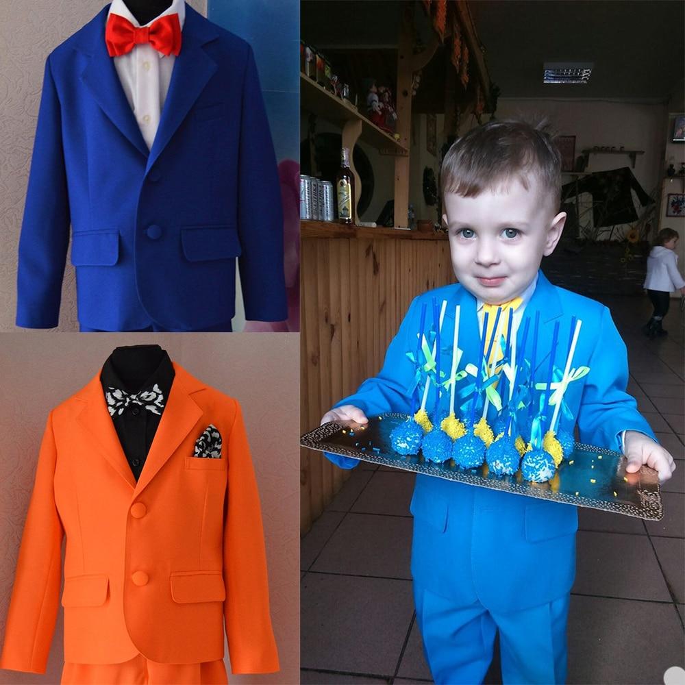 برتقالي أزرق 2020 وسيم بنين ملابس رسمية سترة السراويل 2 قطعة مجموعة الدعاوى لحفل الزفاف عشاء الأطفال الاطفال البدلات الرسمية