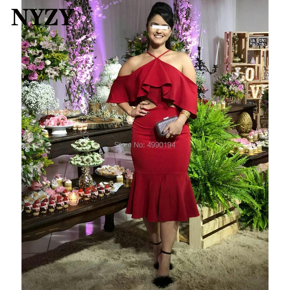 NYZY-فستان كوكتيل أحمر مثير ، ملابس مكشكشة ، خصر مفتوح ، فستان قصير ، حفلة موسيقية ، العودة إلى الوطن ، التخرج ، c281 ، 2020