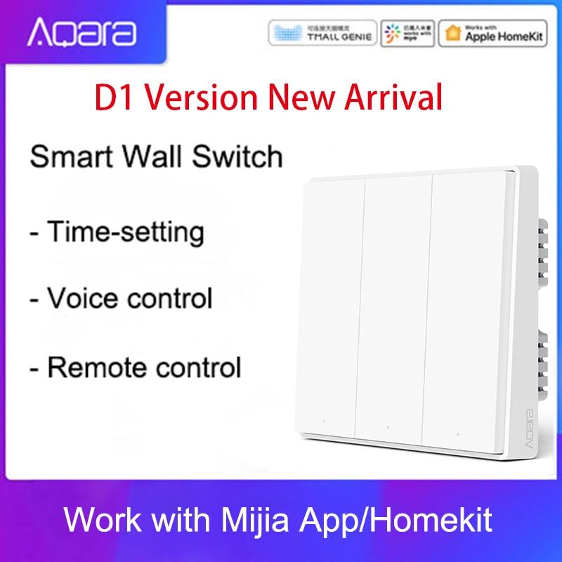Настенный переключатель Aqara Mijia, беспроводной переключатель с одним проводом, ZigBee, для умного дома, управление освещением, D1, управление чере...